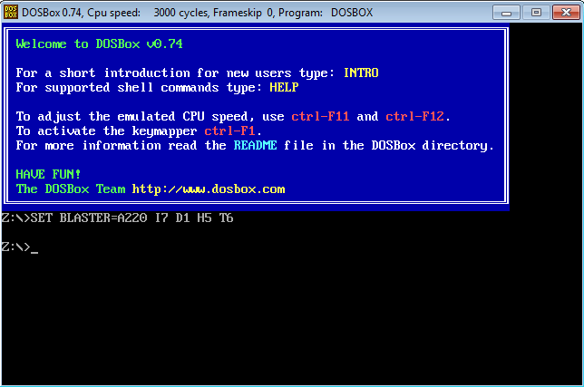 DOSBox, shell.